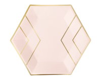 Blush Pink and Gold Hexagon Paper Plates- Large