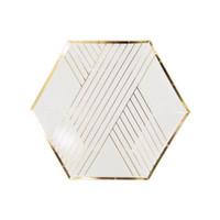 White Striped Paper Plates- Small