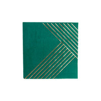 Striped Cocktail Napkins- Dark Green