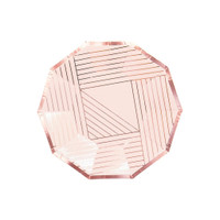 Manhattan Pale Pink Striped Paper Plates- Small