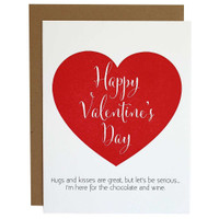 Wine & Chocolate Valentines Day Letterpress Card