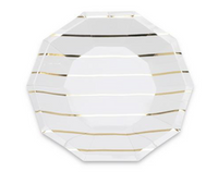 Frenchie Metallic Striped Small Plates- Gold Foil