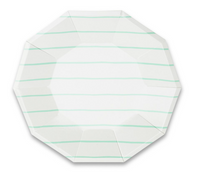 Frenchie Striped Large Plates- Mint