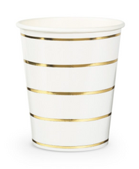 Frenchie Metallic Striped Cups- Gold Foil