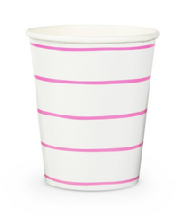 Frenchie Striped Cups- Cerise