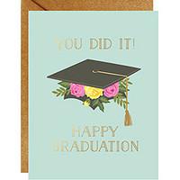 Grad Floral Cap Card