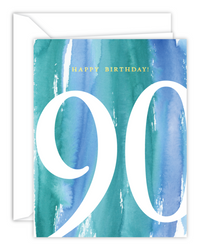 90th Birthday Watercolor Card