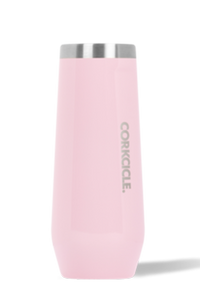 8oz Corkcicle Champagne Flute- Gloss Rose Quartz