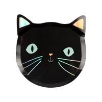 Spooky Black Cat Halloween Plates