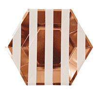 Toot Sweet Rose Gold Stripe Small Party Plate