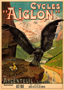 Cycles Aiglon Vintage Bicycle Poster Print