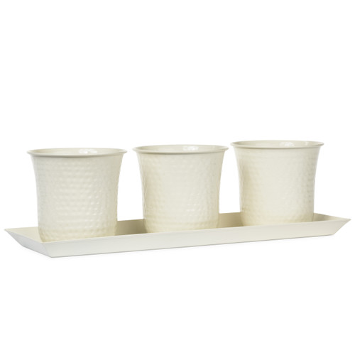 H Potter Set of Three Mini Flower Garden Window Box Planter (White)