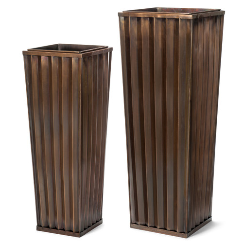 H Potter Set of 2 Planters Patio Deck Flower Ribbed Garden Planters Antique Copper Finish