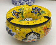 Yellow Pattern Turkish ceramic Ashtray with Lid
