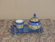 handmade Single Enamel Copper Teaset with Sugar bowl  , Tray and Cup Holder