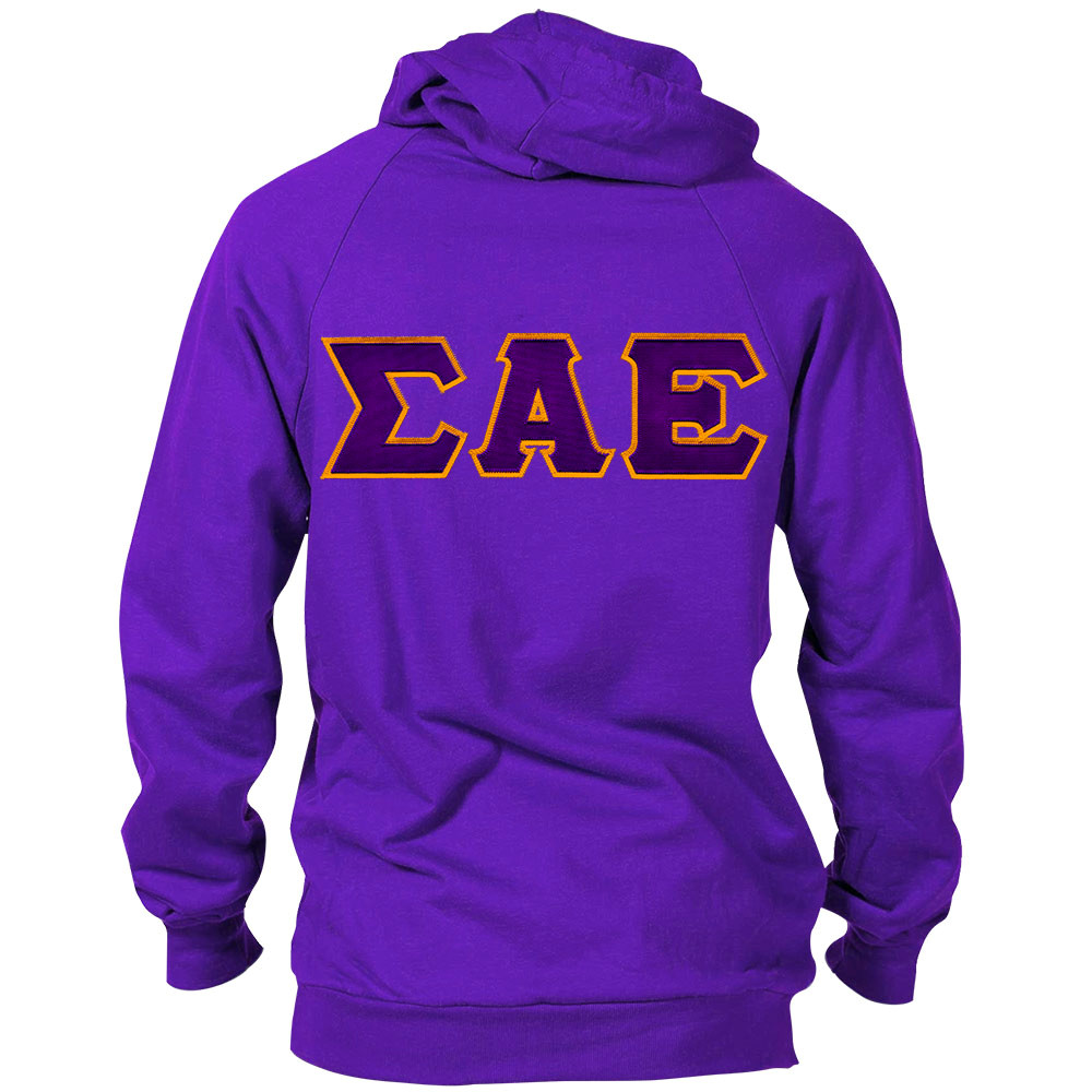 Fraternity sorority lettered hoodie for American apparel sorority shirts