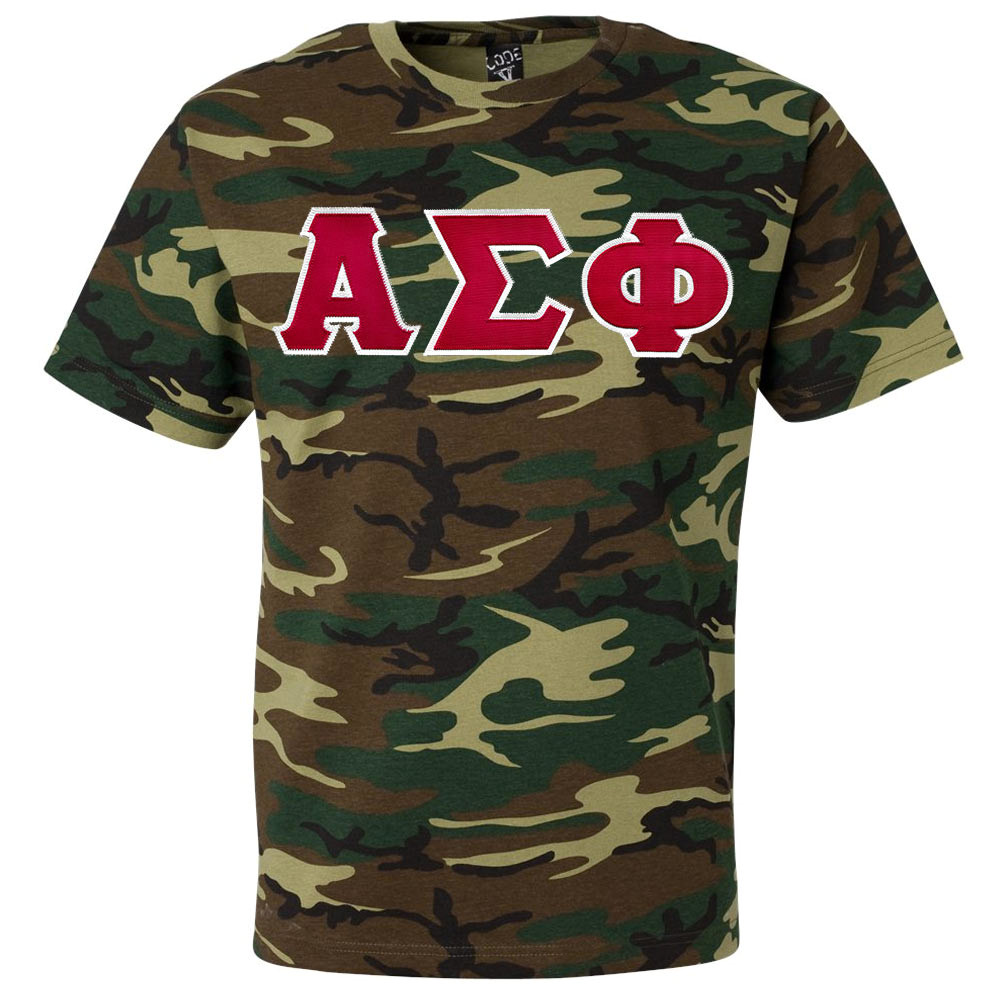 Fraternity sorority lettered camouflage t shirt for Sorority sewn on letters