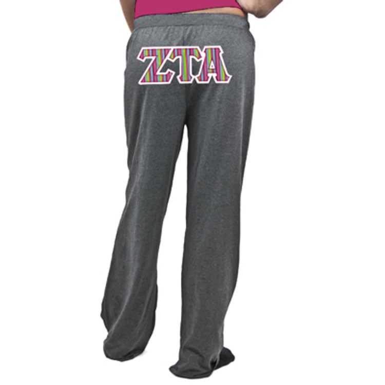 Sorority Sewn-On Lettered Wide-Leg Lounge Pants