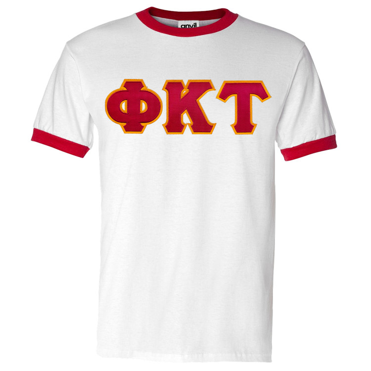 Fraternity & Sorority Sewn-On Letters Ringer T-Shirt
