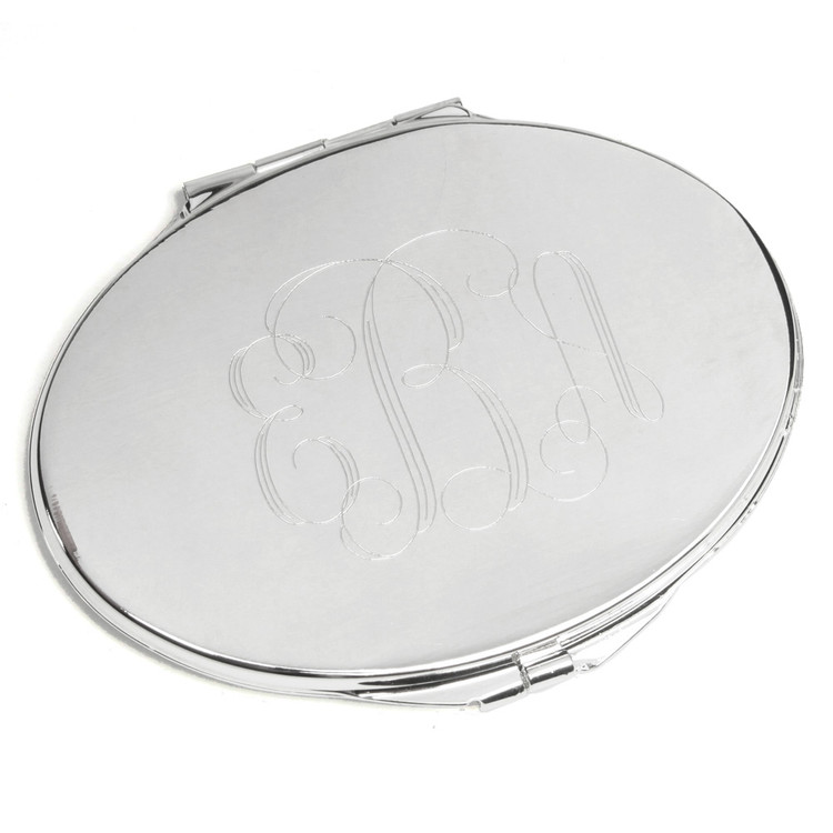 Oval Silverplate Mirror Compact