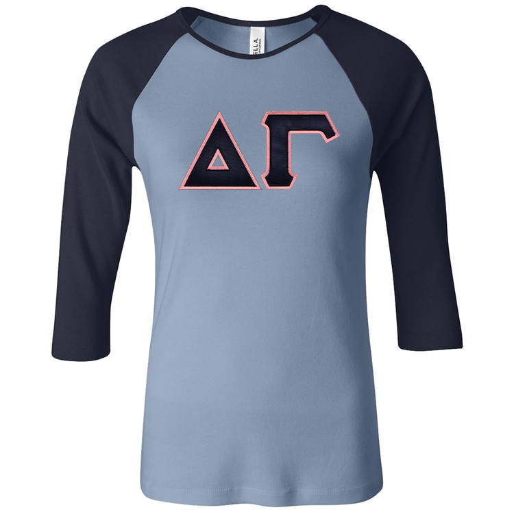 Sorority Bella Sewn-On Letters 3/4 Sleeve Raglan T-Shirt