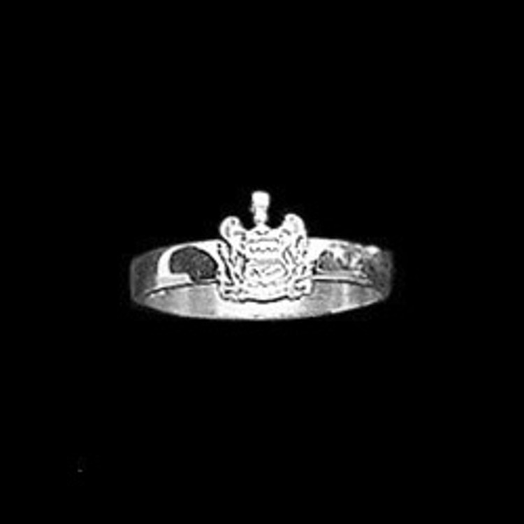 Sterling Silver 3mm Sorority Ring with Crest
