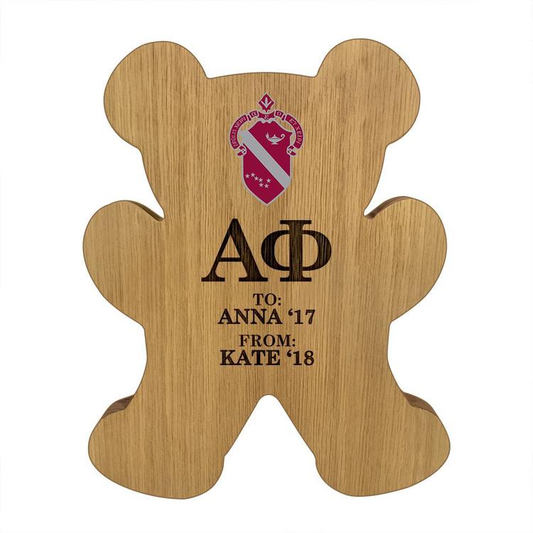 Alpha Phi Bear Paddle Plaque