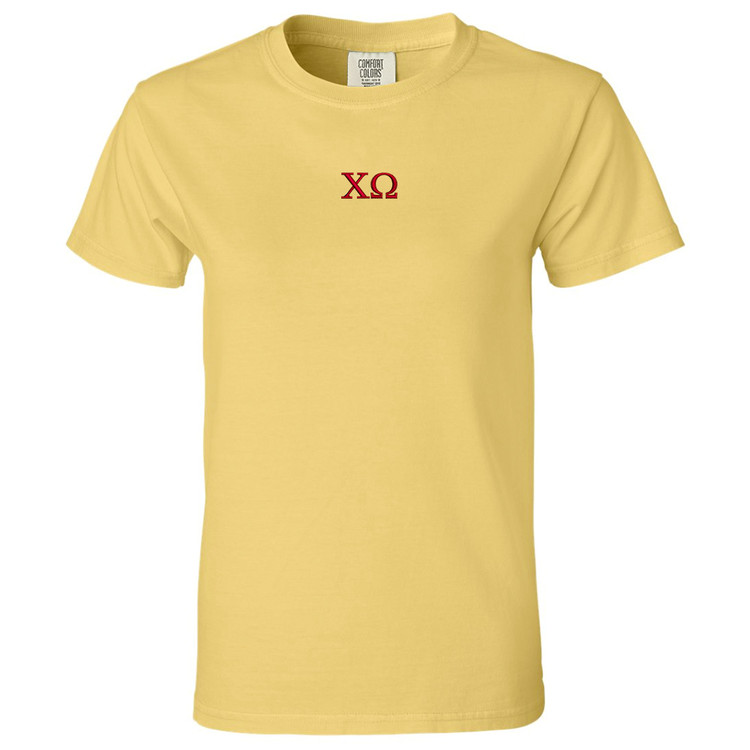 Sorority Ladies Embroidered Garment-Dyed Short Sleeve T-Shirt