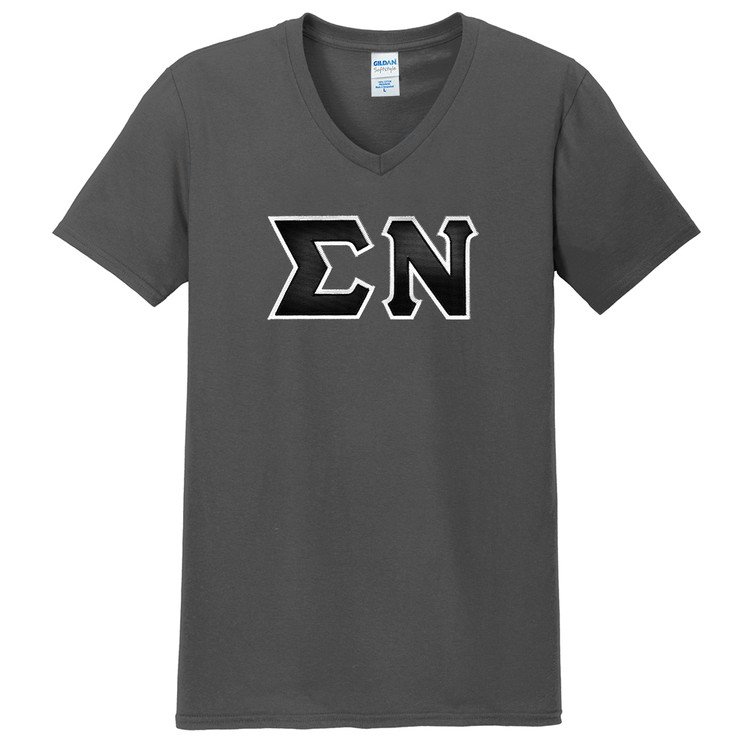 Fraternity & Sorority Gildan Softstyle V-Neck Tee with Greek Sewn On Letters