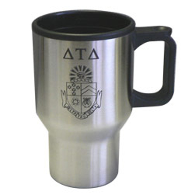 Fraternity and Sorority Brushed Silver Insulated Travel Mug