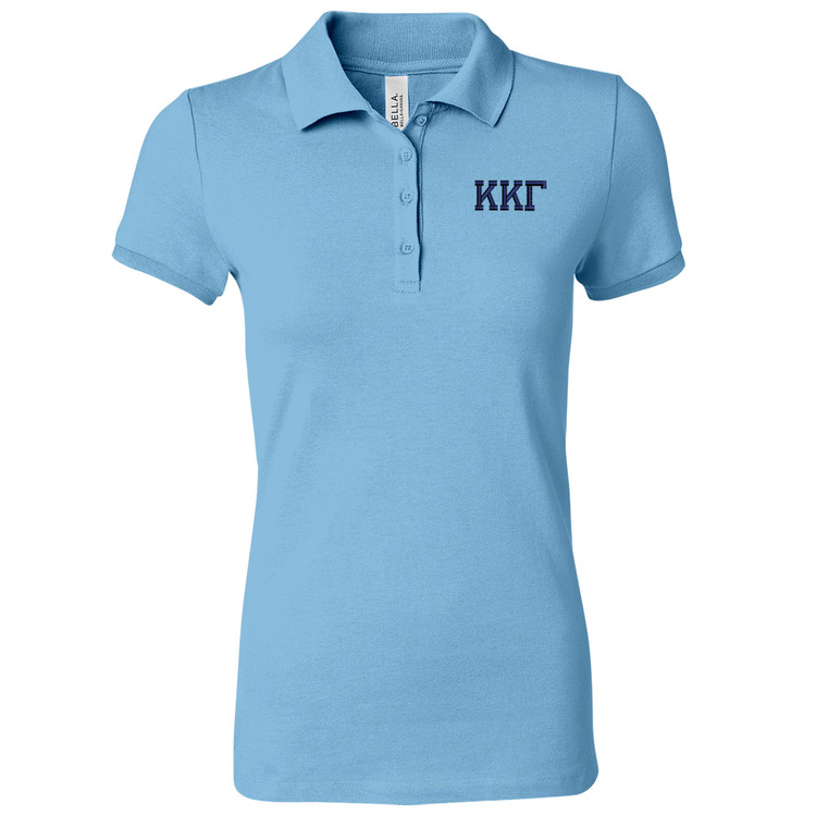 Sorority Bella Embroidered Polo Knit Sport Shirt