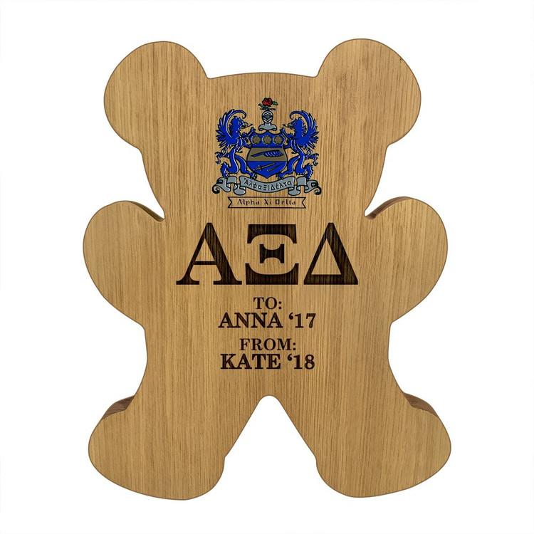 Alpha Xi Delta Bear Paddle Plaque