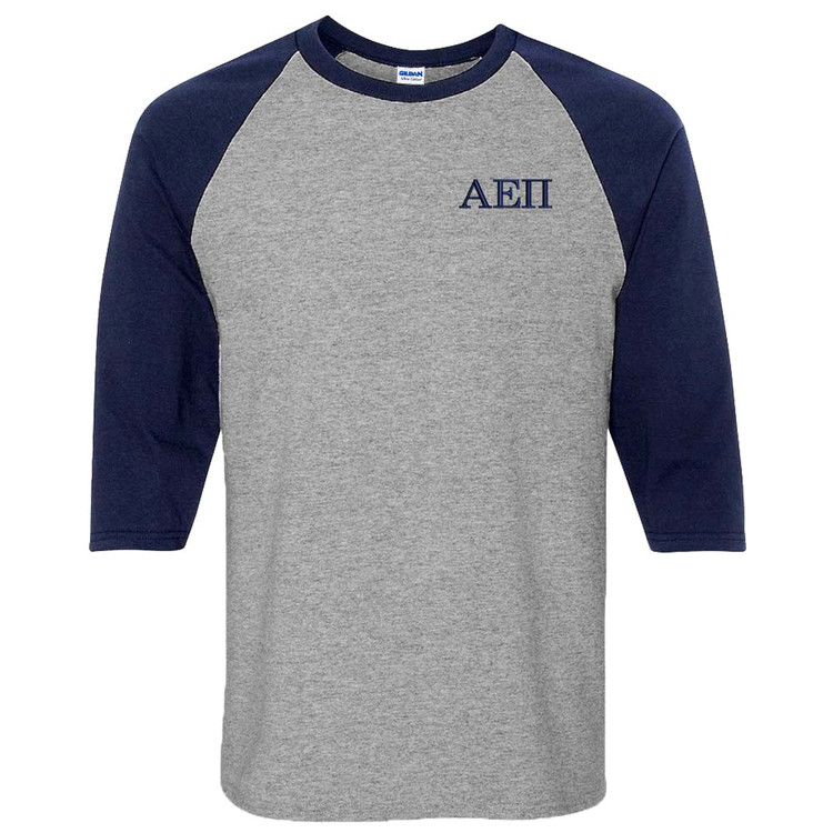 Fraternity & Sorority Embroidered 3/4 Sleeve Raglan Shirt