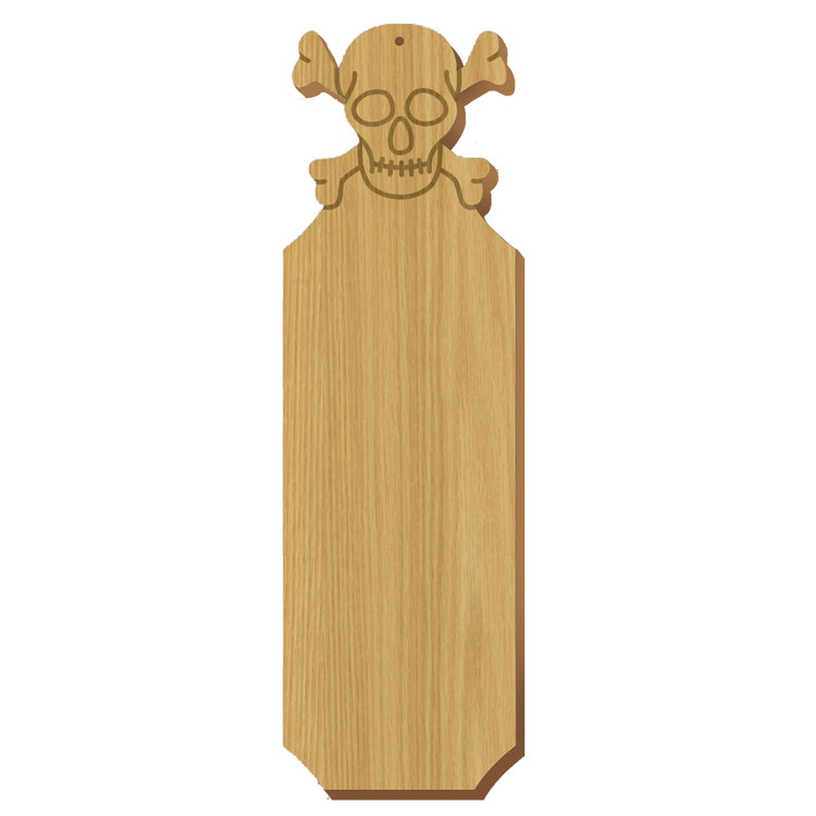 Blank Skull Symbol Oak Plaque