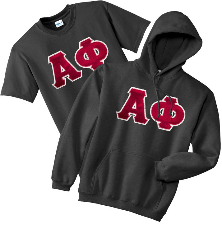 Fraternity & Sorority Lettered Matching Hoodie & T-Shirt Set
