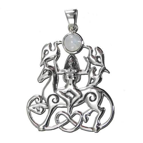 Sterling Silver Rhiannon Pendant with Rainbow Moonstone