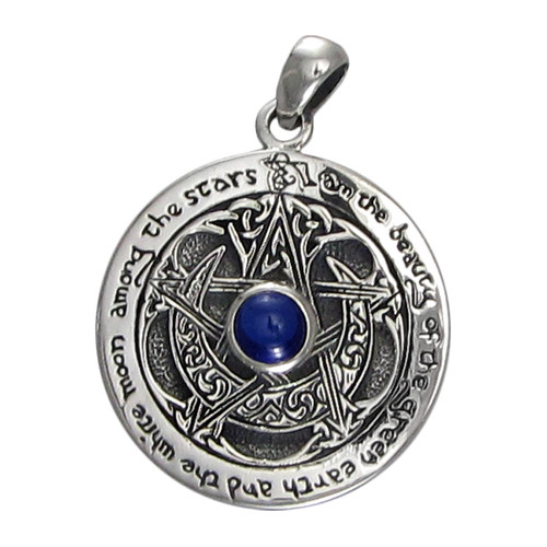 Sterling Silver Blue Sapphire Large Moon Pentacle
