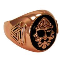 Large Copper Odin Valknut Ring