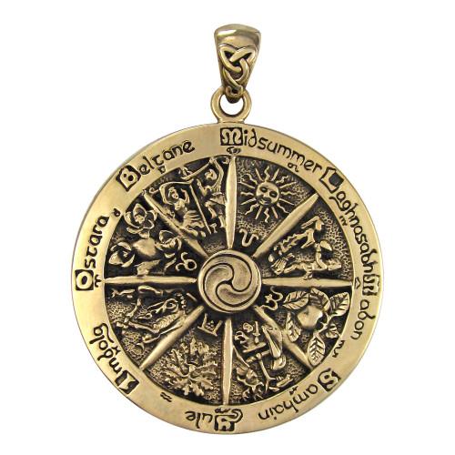 Bronze Wheel of the Year Pendant