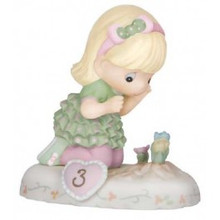 "Precious Moments ""Age 3"" Blonde Growing In Grace Series Figurine NEW VERSION"