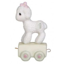 "Precious Moments ""Happy Birthday Little Lamb"" Age 1 Birthday Train Series Bisque Figurine"
