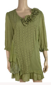 Pretty Angel Green  Linen Blend Tunic with Flowers