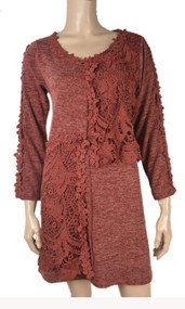 pretty angel Rust Lace Front Linen Blend Tunic