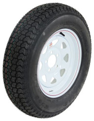 "Kenda Loadstar ST205/75D15 Bias Trailer Tire w/ 15"" White Spoke Wheel - 5 on 4-1/2"