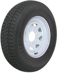 "Kenda Loadstar ST225/75D15 Bias Trailer Tire with 15"" White Wheel - 6 on 5-1/2"