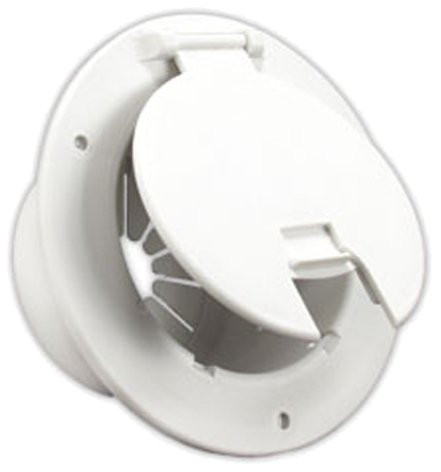 Deluxe Round Electric Cable Hatch W/Back, Polar White