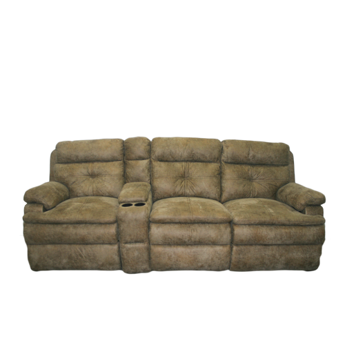 "92"" Suede/Tan Triple Recliner with Storage Cup Holder"