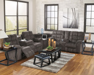 Acieona Slate 3 Pc. Reclining Sofa with Drop Down Table, Wedge & Double Reclining Loveseat with Console