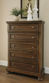 Flynnter Medium Brown Five Drawer Chest