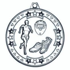 Running 'Tri Star' Medal - Silver 2In